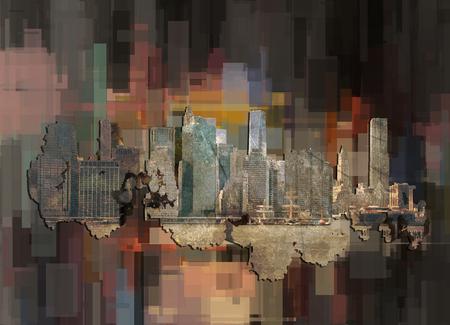 New York, Manhattan. Abstract geometric background. 3D rendering