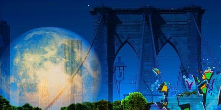 Surreal digital art. Brooklyn bridge on New Yorks cityscape. Giant moon. Stock Photo