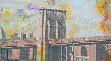 Modern art. Brooklyn bridge, view on downtown.