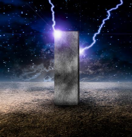Sci-Fi composition. Strange Monolith on Lifeless Planet Stock Photo
