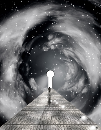Surreal painting. Figure of man walking on stone road to the keyhole in space. Banco de Imagens