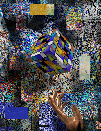 Abstract composition. Colorful cube and metal hand