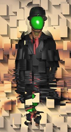 L'homme en costume sombre cache son visage derrière une pomme verte Banque d'images