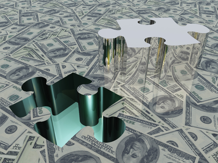 USA Currency Puzzle. 3D rendering