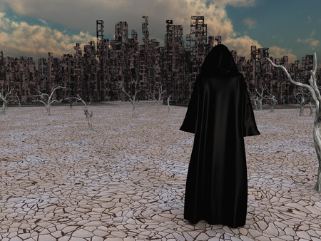 Traveler in black cloak before the destroyed city