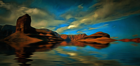 Desert water landscape. Red rocks