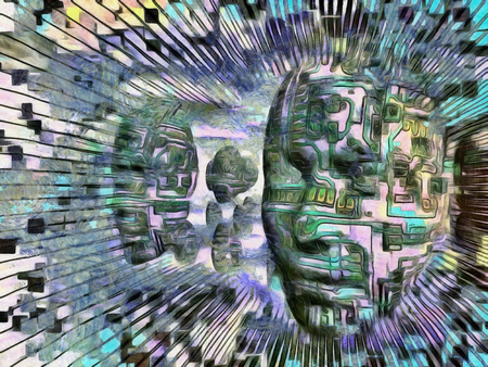 Surreal digital art. Womans masks with electric circuit hovers in the sky.