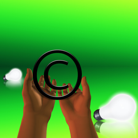 Copyright symbol in human hands Banque d'images - 116244623