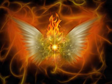Surreale Malerei. Brennendes Auge mit Flügeln. Flammender Hintergrund. Standard-Bild