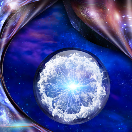 Abstraction. Bunch of lightnings. Pure energy inside crystal ball