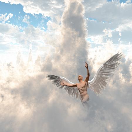 Surrealism. Man with angel's wings flies in cloudy sky. 3D rendering Stock Photo