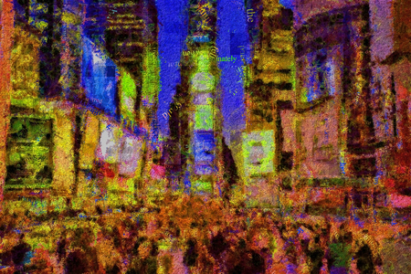 Abstract modern painting with words cloud. Times Square.