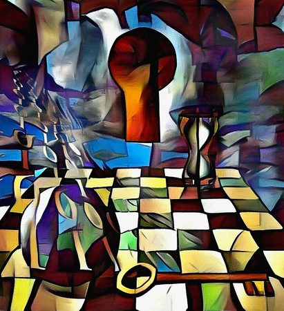 Abstract painting in vivid colors. Binary Code, Key. Bright light comes out from keyhole. Hourglass on the chessboard