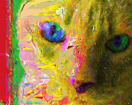 Colorful painting. Cat face Stock Photo
