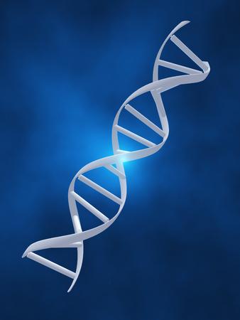 DNA strand on blue background Stock Photo