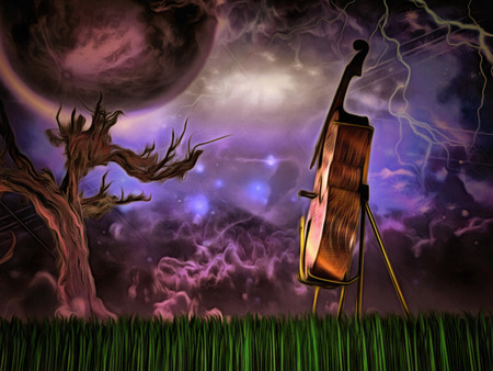 Surreal painting. Cello. Old tree, big moon in purple sky.