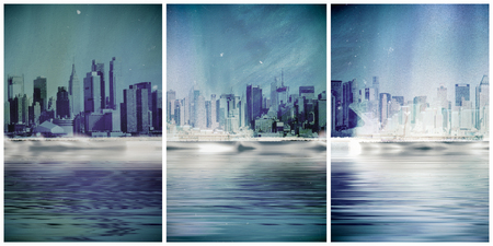 Vintage composition. New York skyline 스톡 콘텐츠