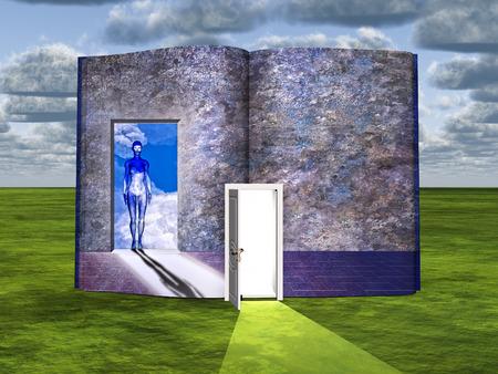 Surrealism. Book with opened door and figure of woman in doorway. Stock Photo