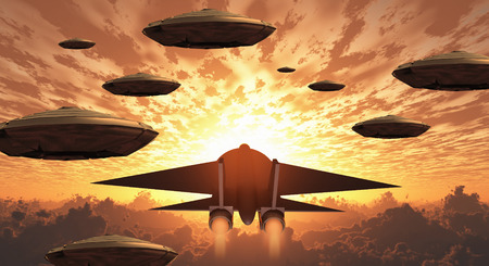 Sunset. Flying saucers and jet plane together. Stock Photo