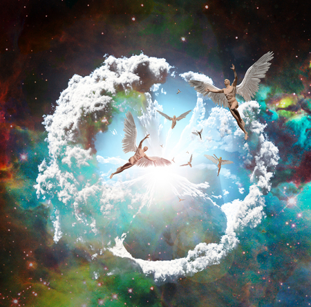 Vivid galaxy. Naked winged men represents angels. 3D rendering. Фото со стока