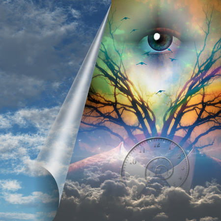 Surrealism. God's Eye, Moon And Clouds. Suit And Branches Of A Tree. Stock  Photo, Picture And Royalty Free Image. Image 116653852.