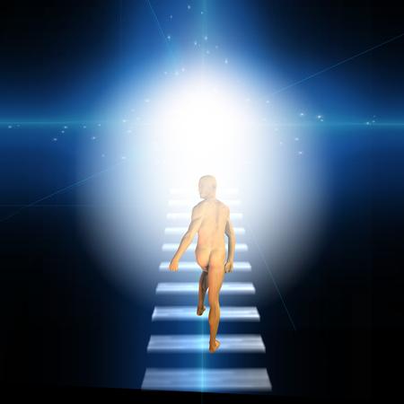 Man trvels up stairway into heavens Фото со стока