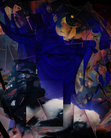 Surreal dimensional abstract with human face and curtains. 3D rendering.