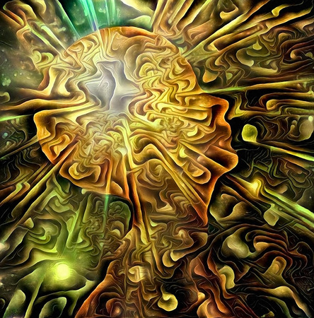 Human head radiates vivid light. Mental power