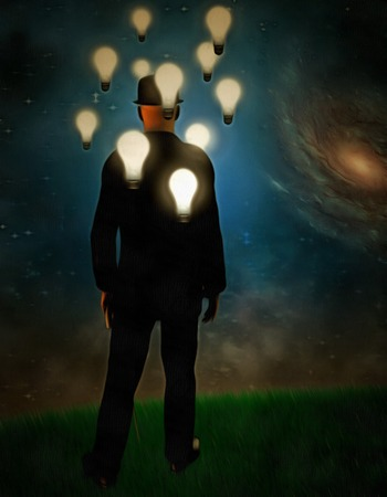 Surreal painting. Man in suit stands in field. Light bulbs around his head represents ideas. Stock Photo