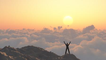 Man on a mountain peak. 版權商用圖片