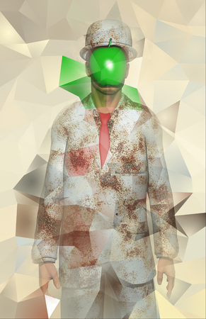Surreal digital art. Man in white corroded suit with hidden face