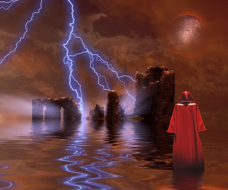 Monk in red cloak. Ruined Temple. Imagens