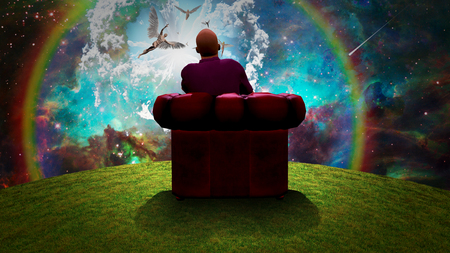 Surreal composition. Man sits in red armchair and observes angels  in vivid sky. 3D rendering Stock Photo - 116764224
