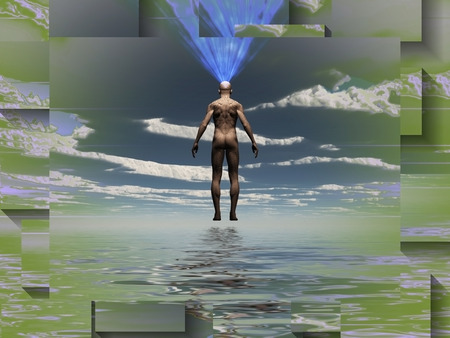 Man radiates light from mind over water