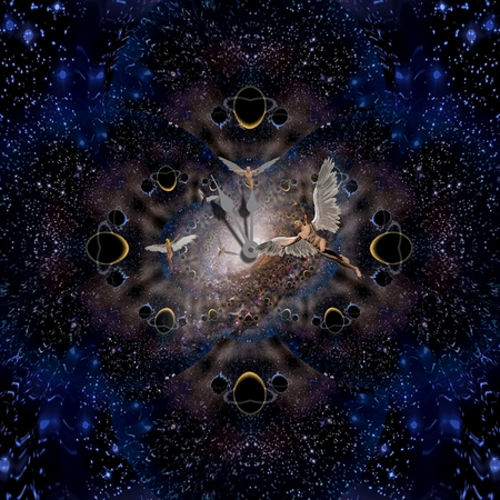 Spiritual composition. Angels and Time. Fractal background Stock Photo
