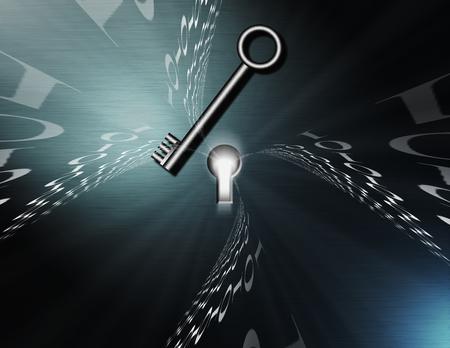 Binary code flows to keyhole. Metal key