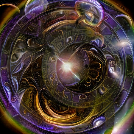 Symbolic abstract painting. Astronomical clock and Tunnel of Time Stock Photo