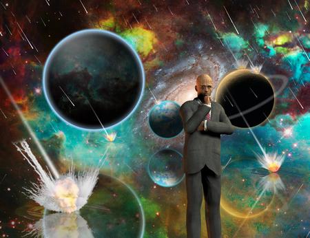 Planetary Armageddon. Massive meteorite - asteroid shower destroy planets. Thinking businessman. 3D rendering Stock Photo