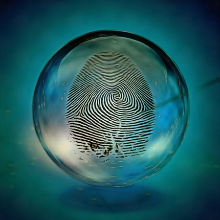 Surreal painting. Fingerprint in crystal ball.