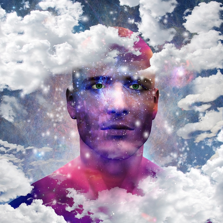 Man head with stars and clouds Stock Photo - 117303534