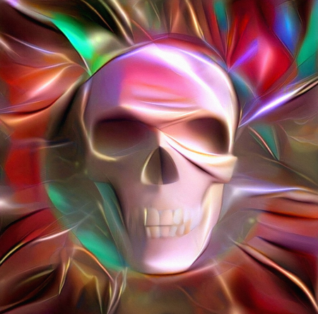 Symbolic colorful painting. Glowing skull
