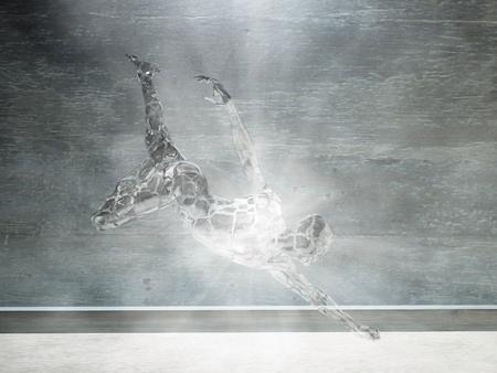 Motion glass man figure radiates light rays.
