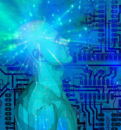 Mind Technology. Droid on electronic circuit background Stock Photo