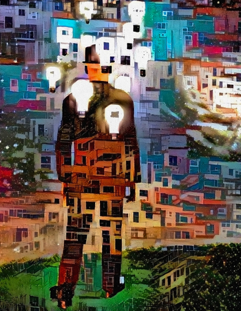 Modern abstract. Entrepreneur - man in suit with light bulbs