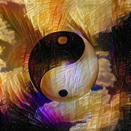 Symbolic painting. Yin - Yang sign