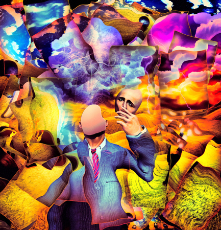 Surreal painting. Faceless man in suit  holds hypocrisy mask in hand Archivio Fotografico