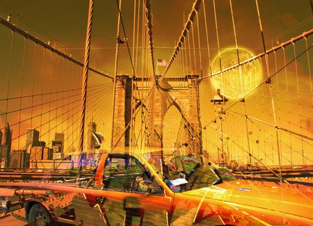 Surreal digital art. Yellow cab on the Brooklyn bridge. Graffiti elements. Full moon in the sky. Foto de archivo