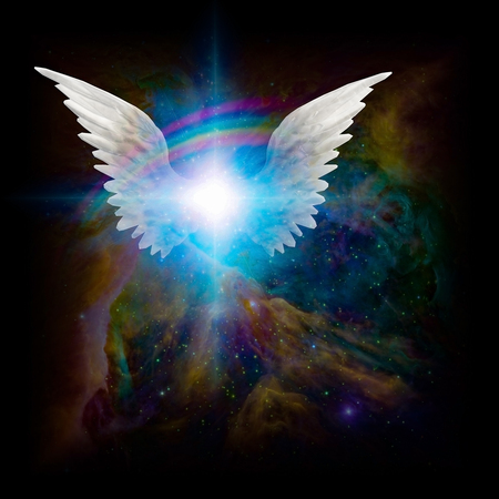 Surreal digital art. Bright star with white angels wings in vivid colorful universe.