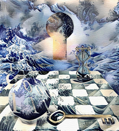 Abstract painting in pastel colors. Binary Code, Key. Bright light comes out from keyhole. Hourglass on the chessboard Stock Photo