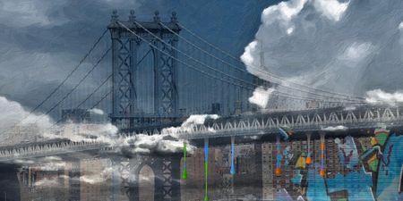 Modern art. Manhattan bridge. Harbour view.